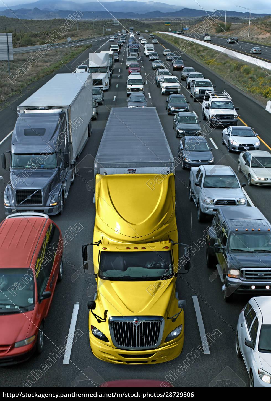usa, , michigan, , trucks, in, traffic, jam - 28729306