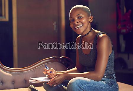 portrait, confident, female, musician, song, writing - 28733436