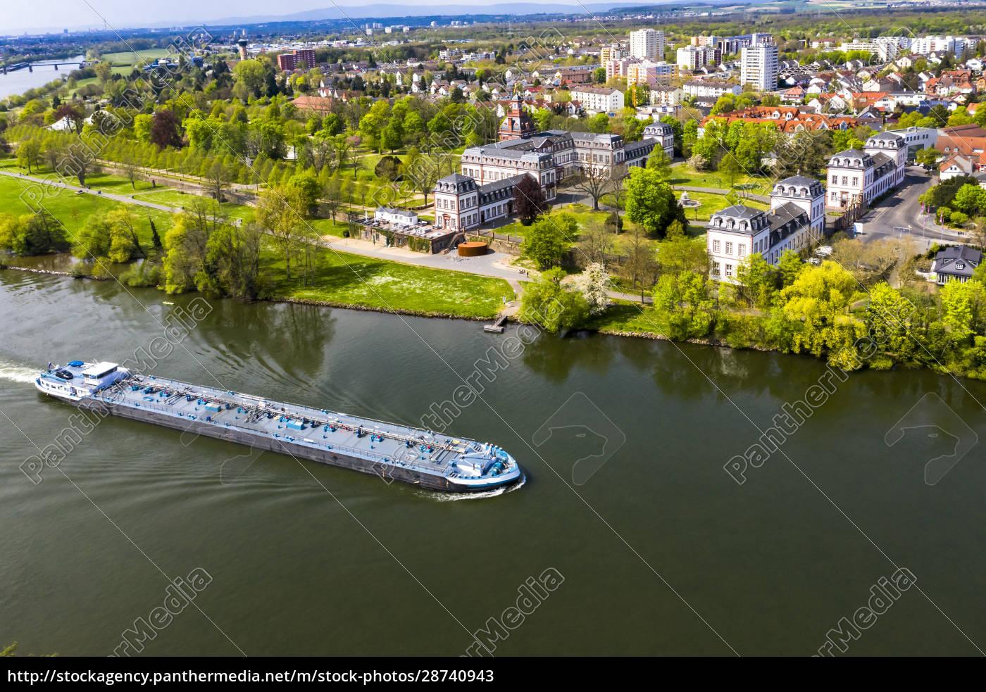 deutschland, hessen, hanau, helikopteransicht, des, binnenschiffs, der, im, sommer, die - 28740943