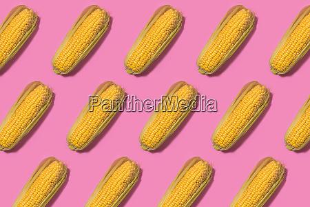 muster von mais vor rosa hintergrund