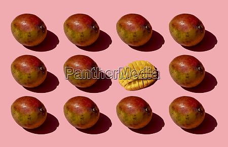 ganz, und, ein, gehacktes, mango-muster, auf - 28747023