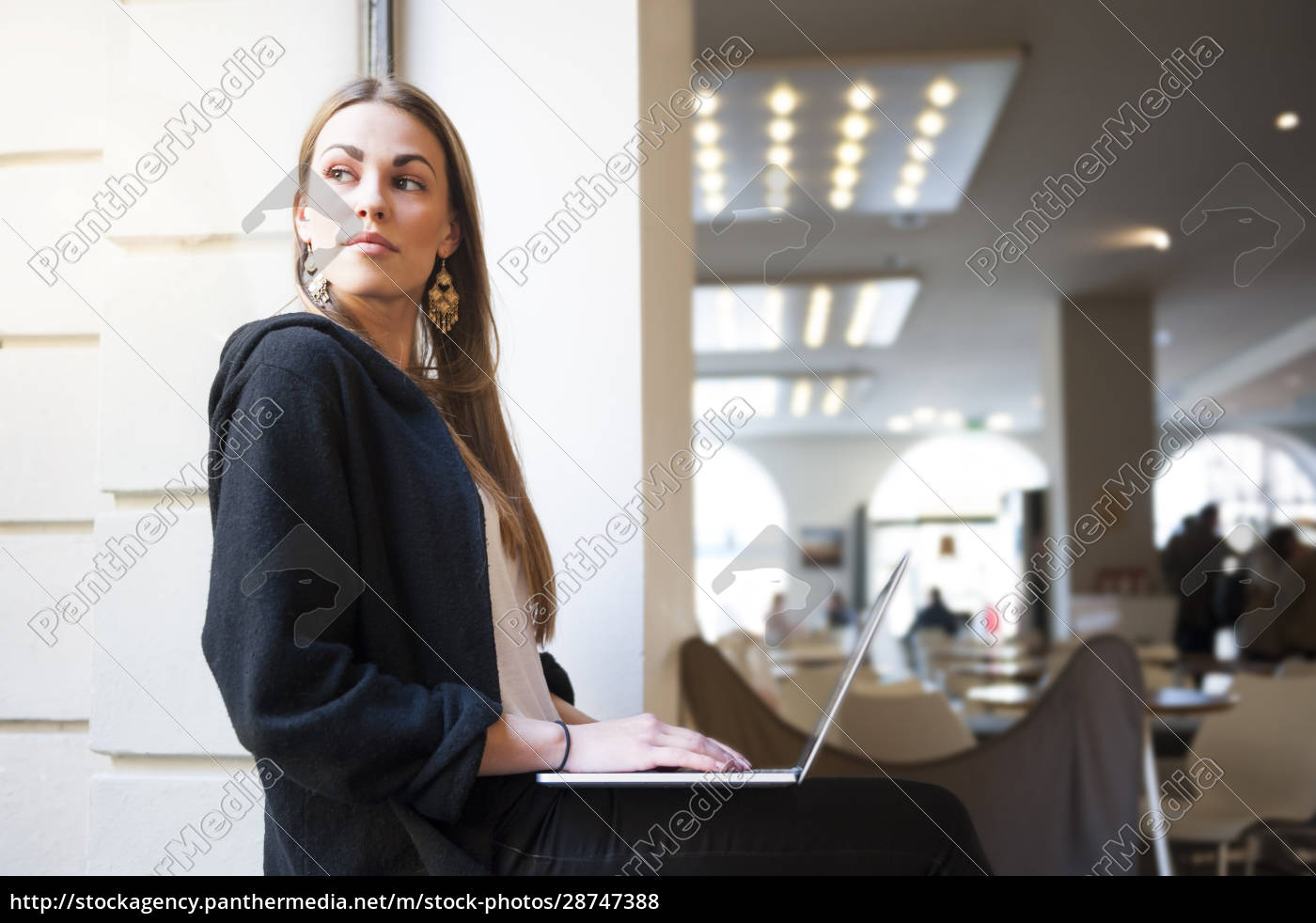 thoughtful, woman, looking, through, window, while - 28747388