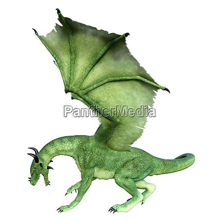 3d rendering maerchend drache auf weiss