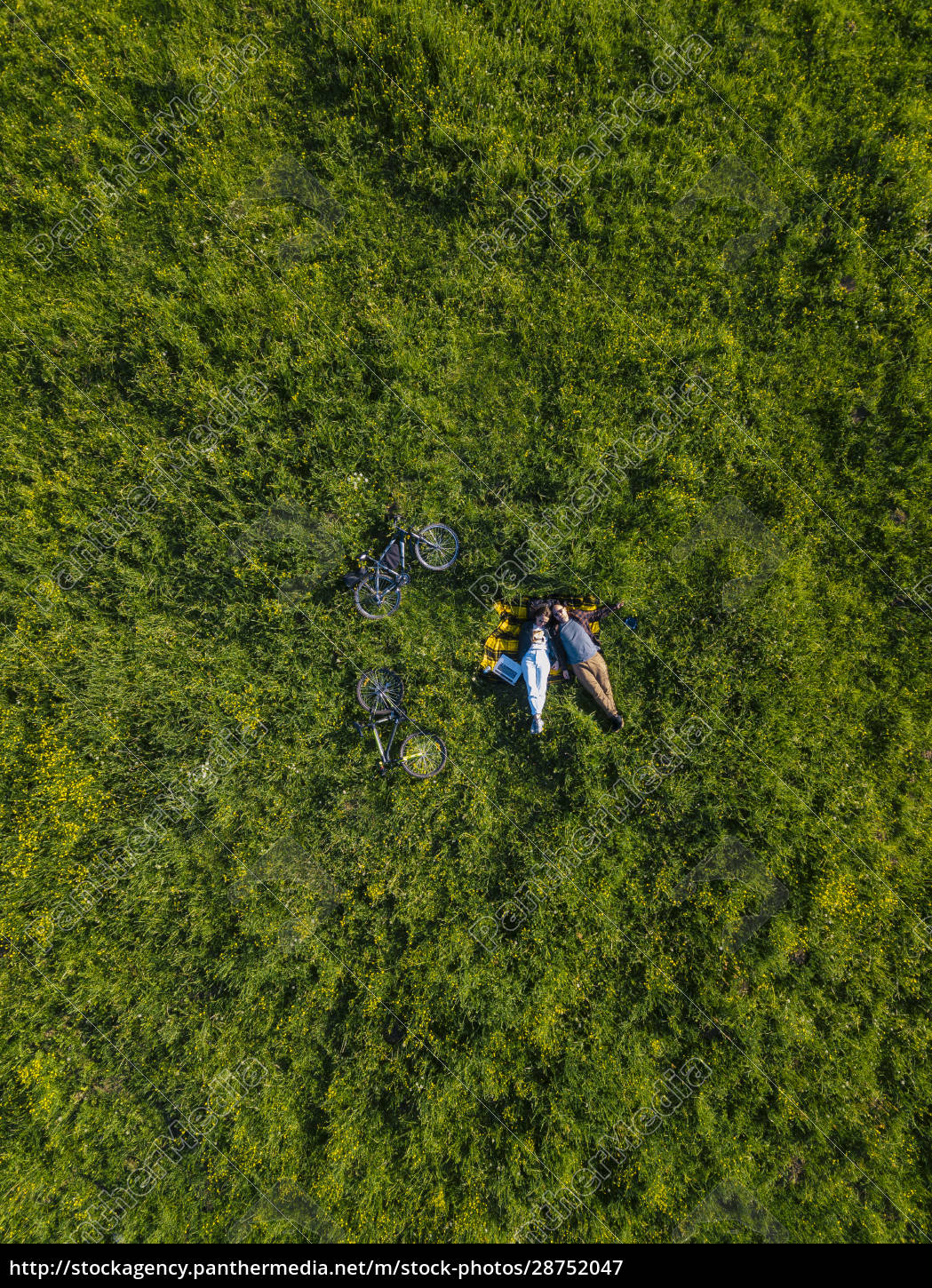 couple, lying, on, grass, , aerial, view - 28752047