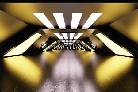 dreidimensionale darstellung des futuristischen korridors