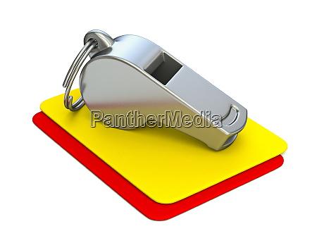 metallpfiff gelbe und rote karte 3d
