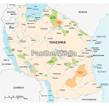 nationalpark vektorkarte des ostafrikanischen staates tansania