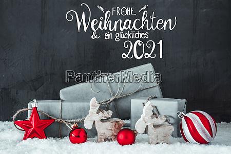 schnee geschenk rote dekoration glueckliches 2021