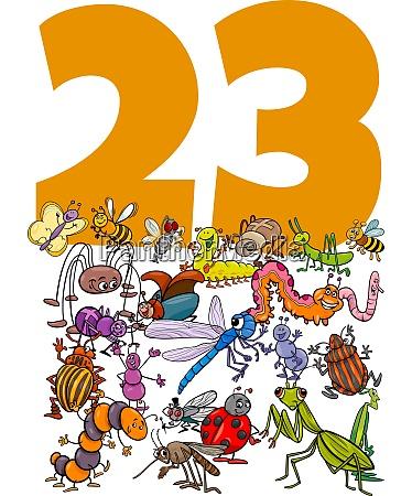 nummer dreiundzwanzig und cartoon insekten gruppe