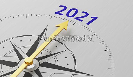 kompassnadel die auf den text 2021