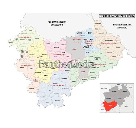 verwaltungsvektorkarte der region koeln in deutschland