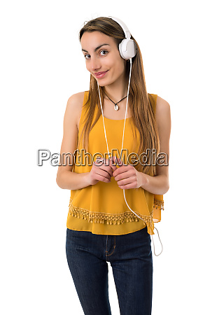 frau hoert musik