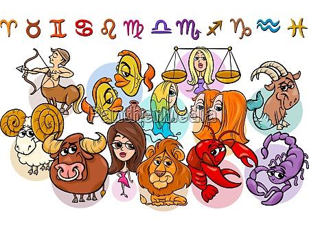 horoskop tierkreis zeichen sammlung cartoon illustration