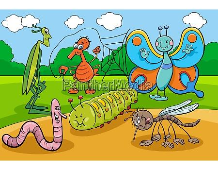 glueckliche insekten und kaefer cartoon figuren
