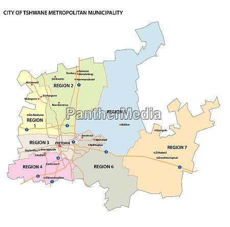 administrative vektorkarte der metropolgemeinde tshwane gauteng