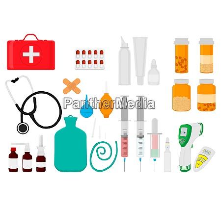 grosse farbige set verschiedene arten medikamente