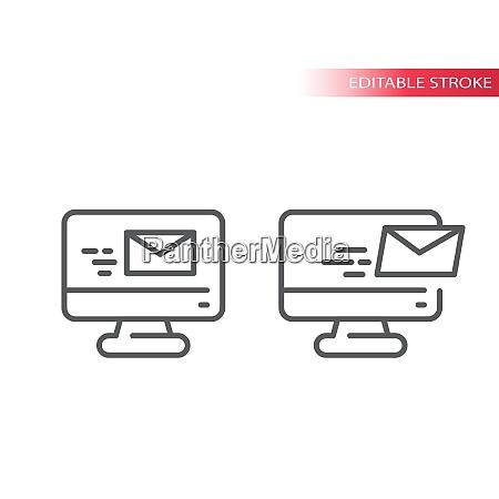 e mail auf dem computerbildschirm duenne