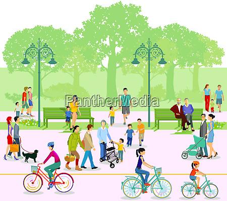 park mit familien und menschen in