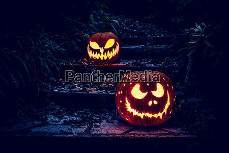 halloween kuerbisse laternen auf einer leiter