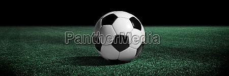 fussball auf gruenem spielplatz fussballkonzept