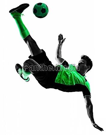 junge fussballer mann silhouette schatten isoliert