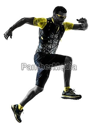 mann trail runner laeuft isolierte silhouette