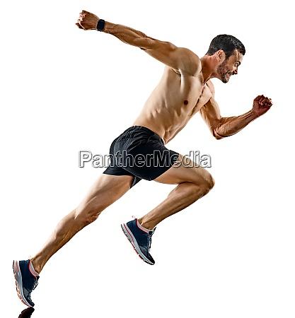 mann laeufer jogger laeuft joggen isolierte