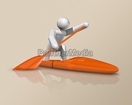 kanu sprint 3d symbol olympischer sport