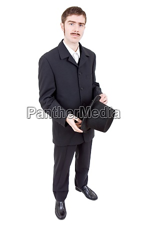 junger mann als vintage braeutigam verkleidet