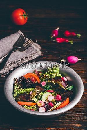 frischer fruehlingssalat mit tomaten rettich gurke