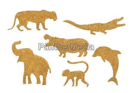 sammlung von goldenen wildtieren aus glitzer