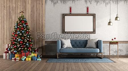 retro stil wohnzimmer mit weihnachtsbaum und