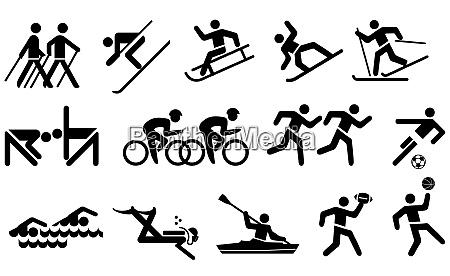 freizeit und sport icon set