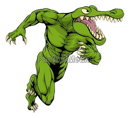 krokodil oder alligator maskottchen laufen
