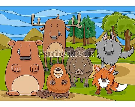 cartoon illustrationen von lustigen wilden saeugetieren