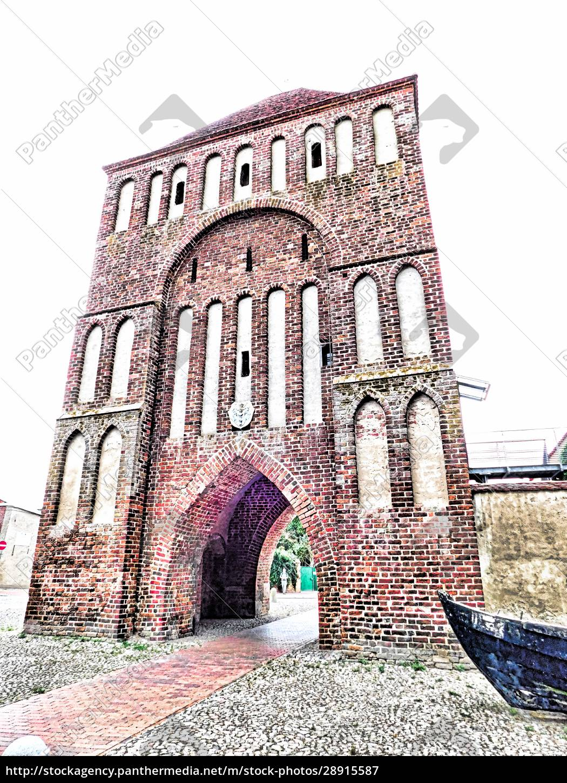 das, anklamertor, teil, der, mittelalterlichen, festung - 28915587