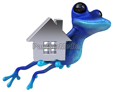 spass blau frosch 3d illustration
