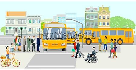 OEffentliche verkehrsmittel mit bushaltestelle vektor illustration