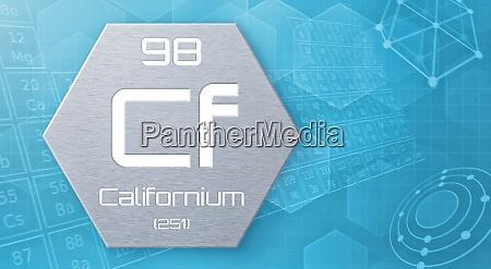 chemisches element des periodensystems californium