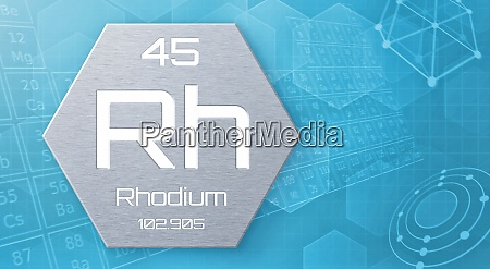 chemisches element des periodensystems rhodium