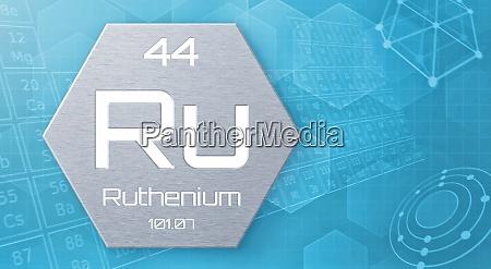 chemisches element des periodensystems ruthenium