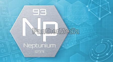 chemisches element des periodensystems neptunium