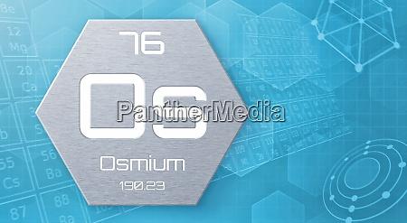 chemisches element des periodensystems osmium