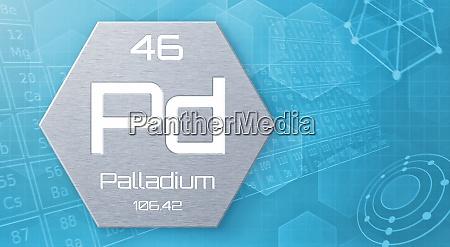chemisches element des periodensystems palladium