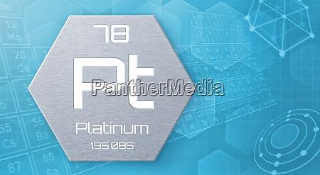 chemisches element des periodensystems platinum