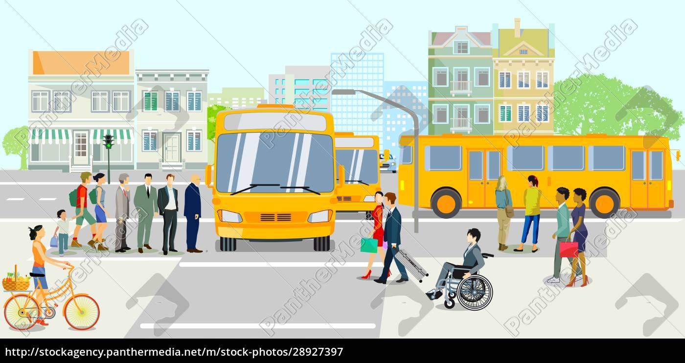Öffentliche, verkehrsmittel, mit, bushaltestelle, vektor-illustration - 28927397