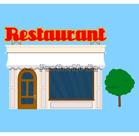 altes restaurantgebaeude illustration im flachen stil