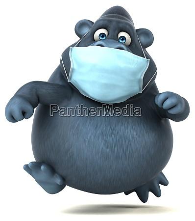 spass 3d cartoon gorilla mit einer