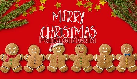 eine, weihnachtskarte, mit, lebkuchenmännern, und, weihnachtsdekoration - 28940960