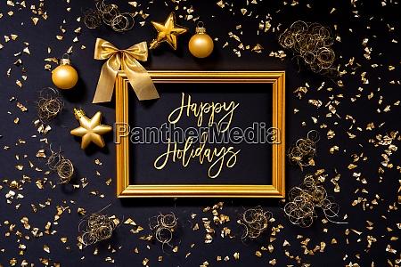 rahmen, golden, glitter, weihnachtsdekoration, ball, text, happy, holidays - 28941690